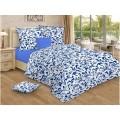 Комплект постельного белья  2,0спальное с евро простынью. Бязь 120гр НН Гжель(синяя)