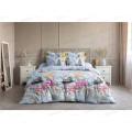 Комплект постельного белья евро Бязь 120гр НН Журавли (голубой)