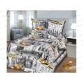 Комплект постельного белья 1.5спальный 215*150 бязь набивная,плотность 125 Нью-Йорк