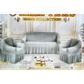 Набор чехлов на мягкую мебель (3х местный диван и 2 кресла) Серебо  Жатка с оборкой