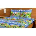 Комплект Постельного Белья 1,5 спальный Бязь 120гр НН Веселый поход (голубой) 1 наволочка