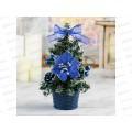 Ель 20см декор синий со снегом 538795
